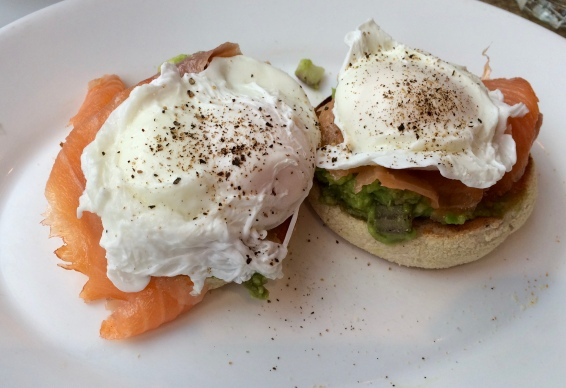 Mashed Avocado with Poached egg and salmon on an English Muffin